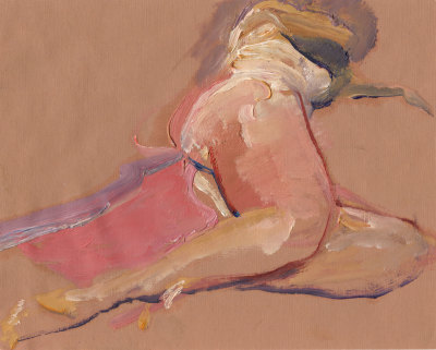 Reclining Nude 15 Minute Oil Sketch on Paper 1985