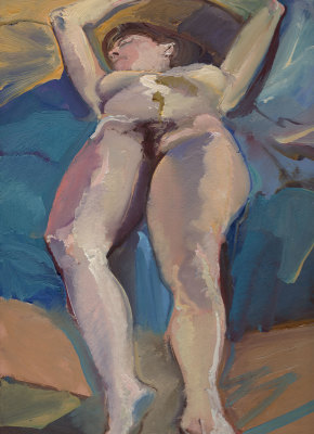 Lee Reclining Oil on Panel 1986