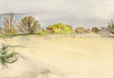 Sand Dunes Magnolia Bluff Pencil and Watercolor 1986
